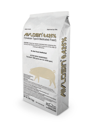 Aivlosin is a broad spectrum Tylvalosin Type B medicated feed, effective against both Gram-positive and Gram-negative organisms that can cause swine respiratory disease, or swine ileitis.